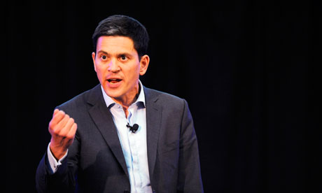 David Miliband addresses a Movement For Change rally, in his Labour party leadership campaign