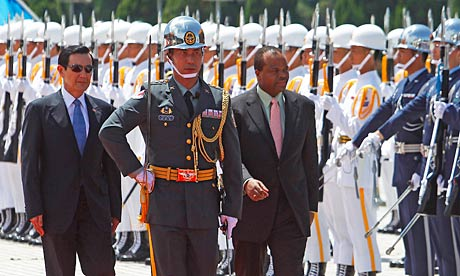 King Mswati III of Swaziland (r) with President Ma Ying-jeou (l), during a recent trip to Taiwan.