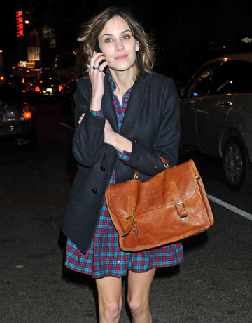 Alexa Chung with satchel bag, 2009