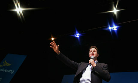 Nick Clegg at the Lib Dem conference, 2010