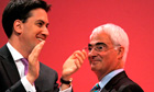 Ed Miliband applauds Alistair Darling after his speech at the Labour party confer