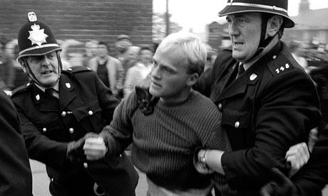 Police clash with Easington residents during angry scenes in August 1984.