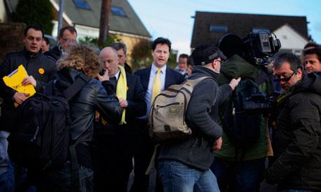 Lib Dem leader Nick Clegg in Oldham East