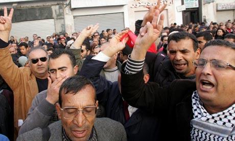 Demonstrators in Tunis
