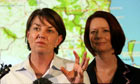 Anna Bligh (left) with the Australian prime minister, Julia Gillard