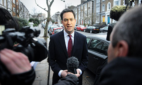 Labour Leader Ed Miliband speaks to the media as he leaves his home in London.