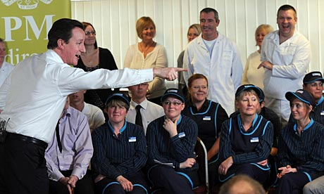 David Cameron answers questions from workers at the Greggs HQ in Newcastle.