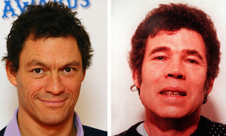 Dominic West (left) and serial killer Fred West.