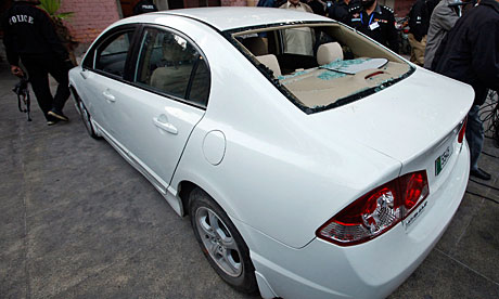 The car a US consulate employee was travelling in when he was engaged in a shoot-out in Lahore.