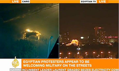 A screengrab from al-Jazeera showing difference between its coverage (l) and Egyptian state TV (r)