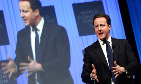 David Cameron speaking in Davos