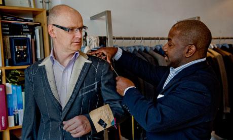 Stuart Jeffries with tailor Charlie Allen