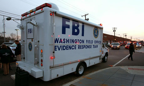 FBI van outside Washington DC postal office
