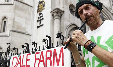 A Dale Farm supporter outside the high court in London.