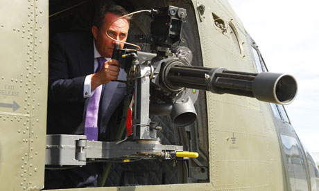 Liam Fox in an RAF Chinook helicopter