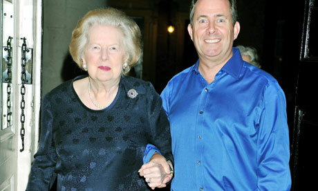 Liam Fox with Lady Thatcher at his 50th birthday party at Admiralty House
