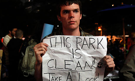 An Occupy Wall Street campaign demonstrator stands in Zuccotti Park, New York