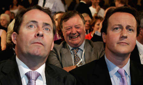 Liam Fox, Ken Clarke and David Cameron: balancing act
