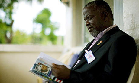 Prince Johnson at his home in Monrovia, in 2009.