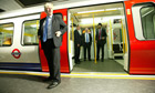 Boris Johnson next to tube train