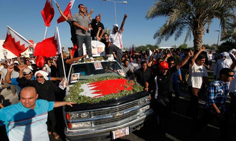 Anti-government slogans are shouted at the funeral procession of Ahmed Jaber in Bahrain
