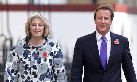 Theresa May, one of the few women in the current cabinet, with David Cameron