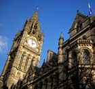 The clock tower at Manchester Town Hall