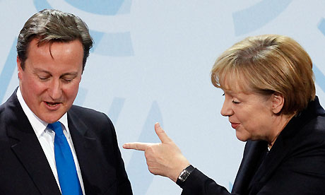 Angela Merkel with David Cameron during a news conference