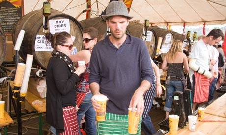 The cider tent at Glastonbury Festival 2008