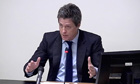 Hugh Grant giving testimony to the Leveson inquiry into press intrusion