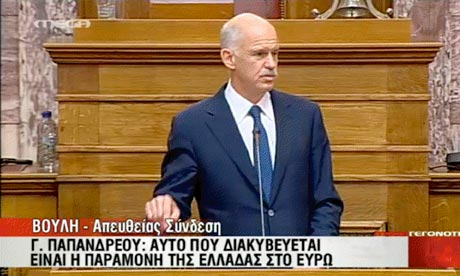 George Papandreou addresses the Greek parliament