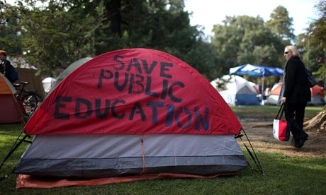A tent belonging to the Occupy UC Davis protest