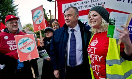 Brendan Barber, the TUC general secretary, outside St Pancras hospital in Camden, north London