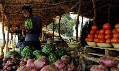 Young women on her fruit and vegetable stall in Zambia