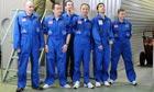 Mars 500 crew in blue overalls