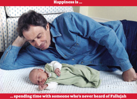Tony Blair with his baby son Leo