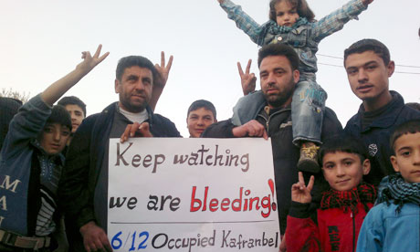Demonstrators protesting against al-Assad in Kafranbel earlier this month