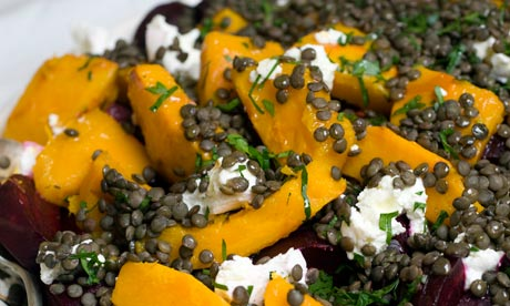Angela Hartnett's Christmas lentils with beetroot, pumpkin and goat's...