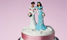Wedding cake with two brid figurines