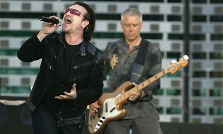 U2's Bono and Adam Clayton on stge