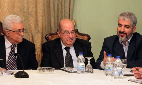 Mahmoud Abbas, Salim al-Zanoun and Khaled Meshaal talk during their meeting in Cairo