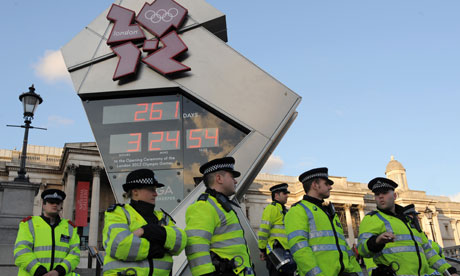 police around the olympic countdown clock