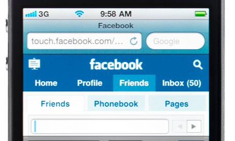 Facebook on a smart phone