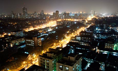 The central district of Mumbai at night