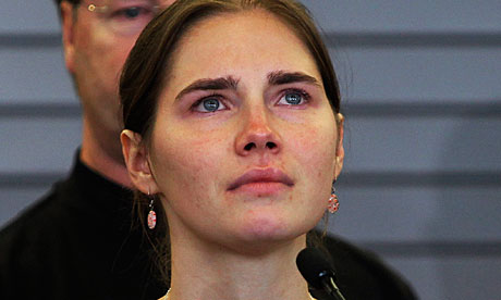 A tearful Amanda Knox after her return to the US, in October.