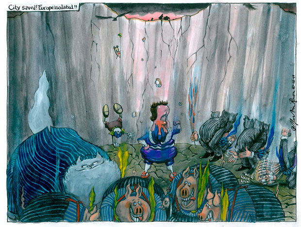 10.12.11: Martin Rowson on Cameron's veto of the EU treaty