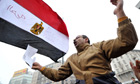 A demonstrator shouts during protests in egypt