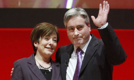 Scottish Labour leader Iain Gray and his wife Gil Gray at the party conference in Dundee.