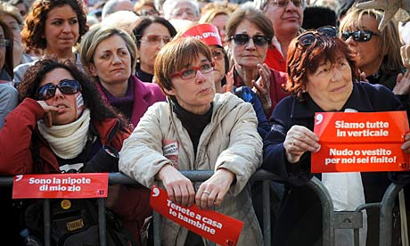 Protesters at a rally to appeal for greater dignity for Italian women, in Rome.