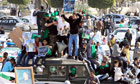 Pro-government supporters rally in Tripoli